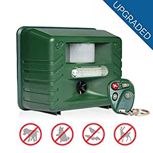 Yard Sentinel RC - Ultrasonic Animal Pest Repeller with Motion Detector, 4 Key Remote, Strobe & New Sonic harassment & Predator Sound