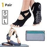 Hylaea Yoga Socks for Women with Grip & Non Slip Toeless Half Toe Socks for Ballet, Pilates, Barre, Dance (Medium, Black)