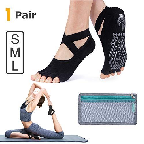 Hylaea Yoga Socks for Women with Grip & Non Slip Toeless Half Toe Socks for Ballet, Pilates, Barre, Combed Cotton (Medium, Black) from Hylaea