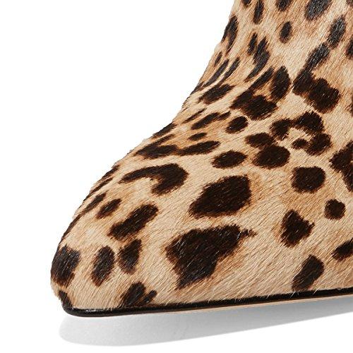Heels High 15 Toe Sandals 4 Suede Women On Size Classic Slip Stiletto Mules US Faux Leopard Closed FSJ Shoes S8PqvWnaW