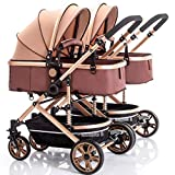 Foldable Luxury Double Stroller Travel System Compact Fold Umbrella Stroller with Oversized Canopy, Extra-Large Storage and Anti-Vibration Brake Travel System for Family Trips Best Gift