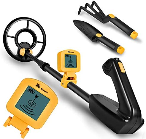 """RM RICOMAX Metal Detector for Kids - 7.4 Inch Waterproof Kid Metal Detectors Gold Detector Lightweight Search Coil (24""""-35"""") Adjustable Metal Detector for Junior & Youth with High Accuracy - Yellow"""