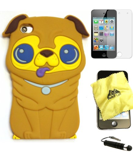 Bukit Cell ® BROWN 3D Dog Soft Silicone Skin Case Cover for iPod Touch 4 4G 4th Generation + BUKIT CELL Trademark Lint Cleaning Cloth + Screen Protector + METALLIC Touch Screen STYLUS PEN with Anti Dust Plug [bundle - 4 items: case, cloth, stylus pen and screen protector] - Ipod Touch 4 Animal Cases