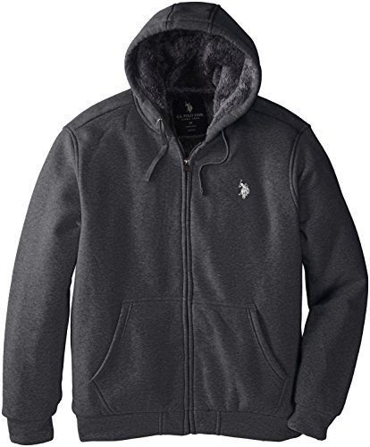 Embroidered Zip Hoodie (U.S. Polo Assn. Men's Big-Tall Sherpa Lined Full Zip Fleece Hoodie, Heather Dark Gray, 3X)