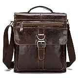 Cheap Stepack Vintage Genuine Cowhide Leather Messenger Bag Shoulder Bag For Men (Red Coffee)