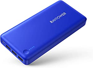 Portable Charger RAVPower 26800mAh Power Bank Battery Pack Total 5.5A Output External Battery 3 Ports Portable Phone Charger Compatible with iPhone 11 Pro Max SE iPad Samsung Galaxy S20 Note10 (Blue)