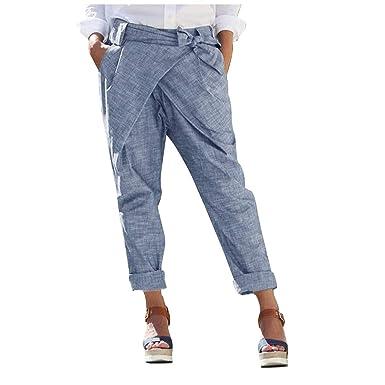 Saihui_Women Pants Pantalones de Lino y algodón para Mujer ...