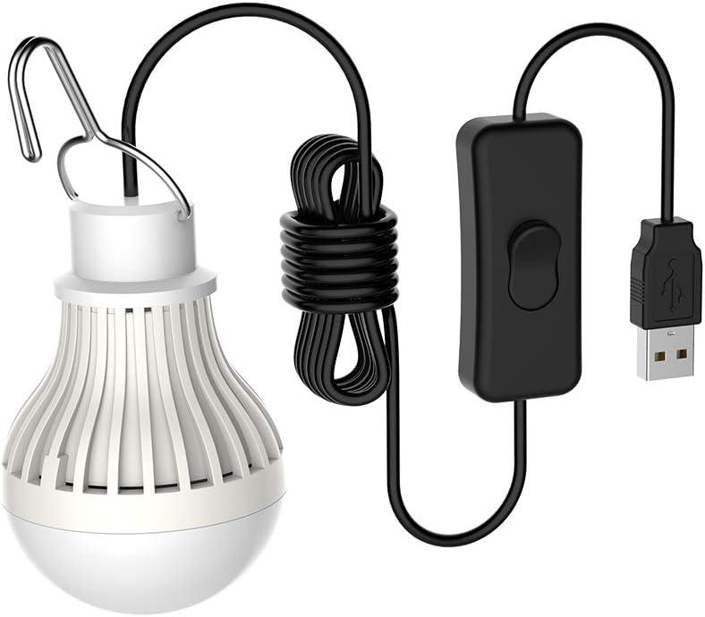 Falale 5W Bombilla LED Port/átil Tienda de Campa/ña USB Luz de Emergencia para C/ámping Excursionismo Pescar Caza Mochilero Actividades de Monta/ñismo,Blanco C/álido
