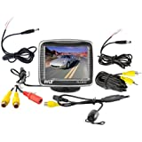 Pyle PLCM32 3.5-Inch TFT LCD Monitor with Universal Mount Rear View and Backup Color CMD Distance Scale Line Camera