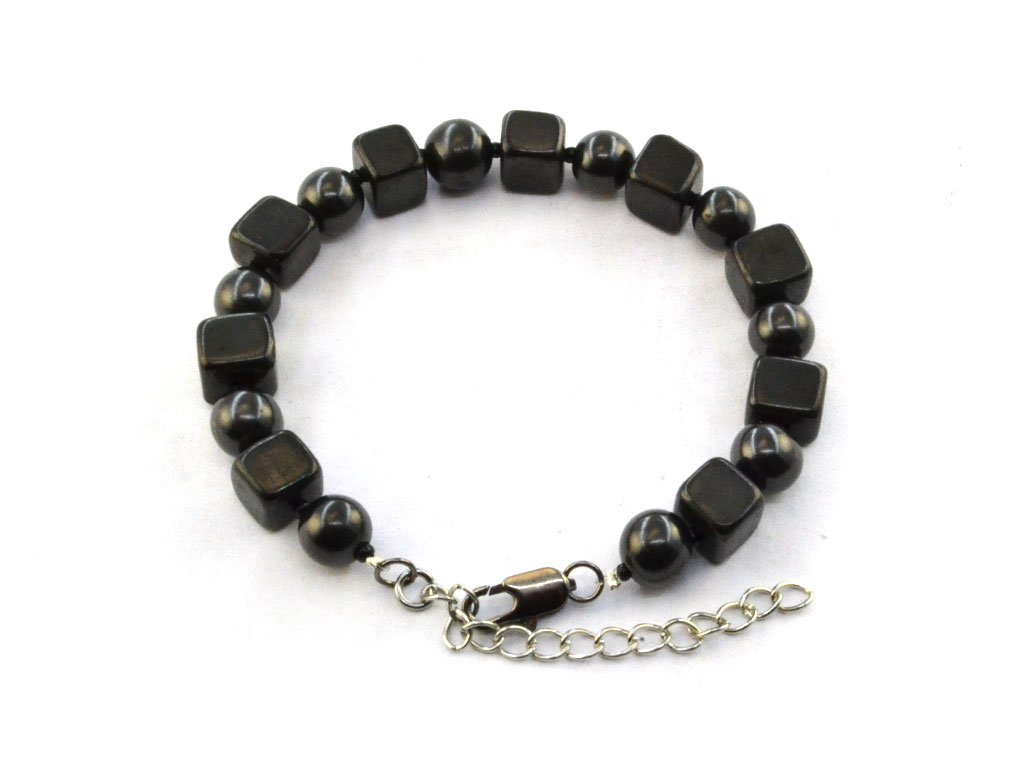 Wallystone Gems: Shungite Bracelet Square and Round Beads 8mm, Adjustable Clasp