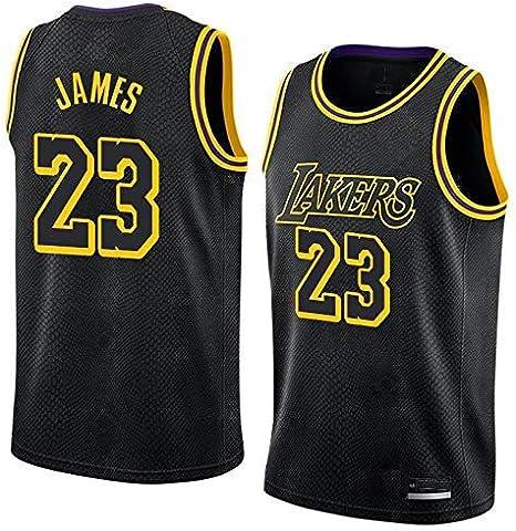 S/&K Sports Camiseta Lebron James Los Angeles Lakers Negra Camiseta Lebron James Los Angeles Lakers City Edici/ón Swingman para Hombre
