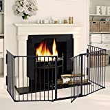 LAZYMOON Black Fireplace Fence Baby Safety Fence Hearth...