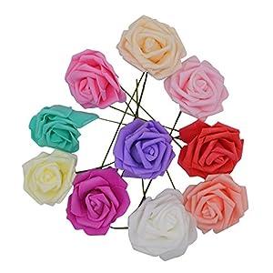 YONGSNOW 30Pcs/lot 8cm PE Foam Rose Artificial Flower Bouquets for Wedding Party Decoration 59