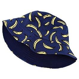 HYhy Funky Bucket Cap Unisex Banana Fruit Print Bucket Hat Fishmen Outdoor Cap,Dark blue