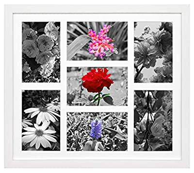 Golden State Art 13.7x15.7 Collage Frame - Mat - Displays Seven 4x6 Photos - Real Glass, Sawtooth Hanger, Swivel Tabs - Wall Mounting, Landscape, Portrait