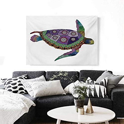 BlountDecor Psychedelic Wall Art Canvas Prints Sea Turtle with Colorful Ornamental Style Tattoos on Animal Art Work Ready to Hang for Home Decorations Wall Decor 36