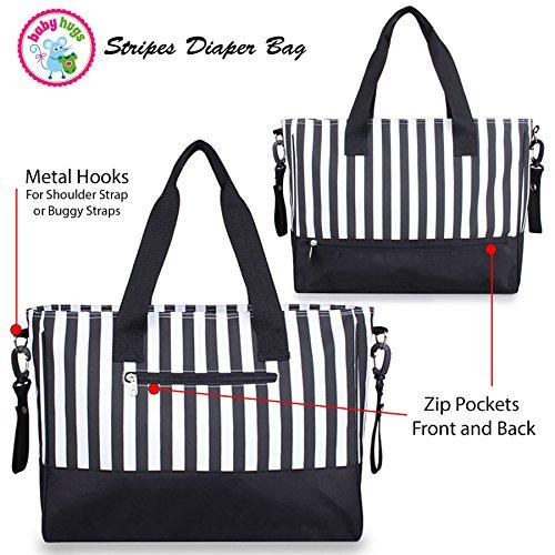 Babyhugs 5x Wickeltasche, Set–schwarz & weiß Streifen