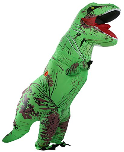Caringgarden Unisex Jurassic T-Rex Inflatable Costume Dinosaur Fancy Dress Green Adult (Unisex Costumes)