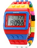 Lowpricenice Block Silicone LCD Digital Light Men's Ladies Sport Watch Red Blue LED090