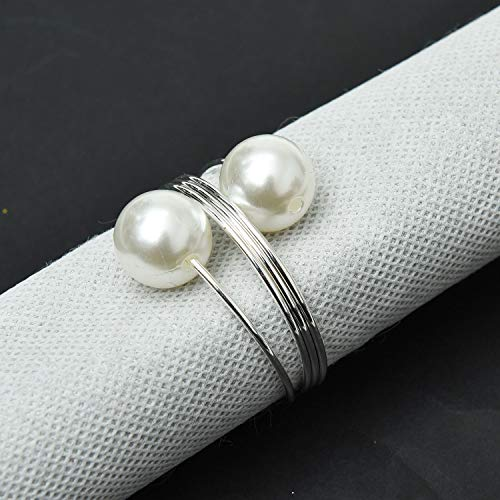 Monrocco 6Pcs Pearl Napkin Rings, Napkin Holders Buckles for Wedding,Birthday Party and Table