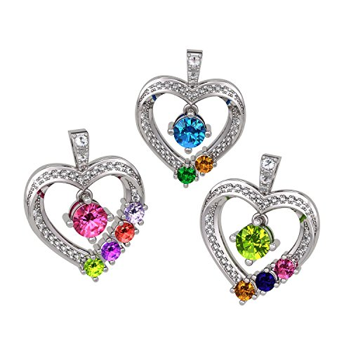 (NANA Mother & Child Heart Pendant/Necklace 1-6 Stones w/.80mm 22