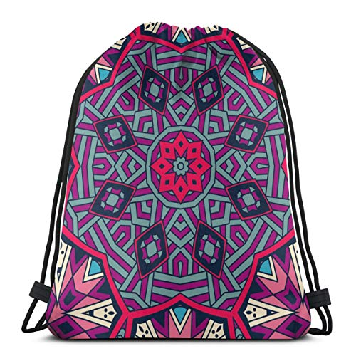 Abstract Ethnic Colorful Mosaic Tribal Lightweight Drawstring Bag Sport Gym Sack Bag Backpack 14.2 x 16.9 Inch (Sailboat Mosaic)