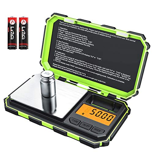 [2019 NEW] Brifit Digital Mini Scale, 200g /0.01g Pocket Scale, 50g calibration weight, Electronic Smart Scale, 6 Units, LCD Backlit Display, Tare, Auto Off, Stainless Steel (Battery Included)-Green (Point Scale)