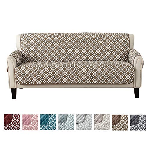 Great Bay Home Reversible Couch Cover for 3 Cushion Couch. Printed Sofa Covers for Living Room with Secure Straps. Protect from Kids, Dogs and Pets. (74 Sofa, Fossil Brown)