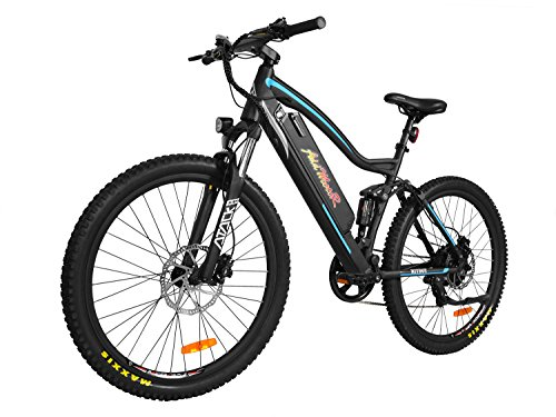 Addmotor HITHOT Electric Mountain Bicycle Sport Bike 500W 48V 11.6Ah Battery Electric Bike With Full Suspension 2018 H1 Platinum E-Bike (Blue)