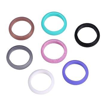 Amazoncom 5 Sizes 7Pcs Colors Women Silicone Wedding Ring Set