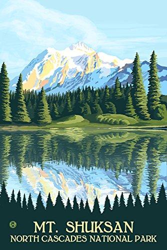 - North Cascades National Park, Washington - Mount Shuksan (12x18 Art Print, Wall Decor Travel Poster)
