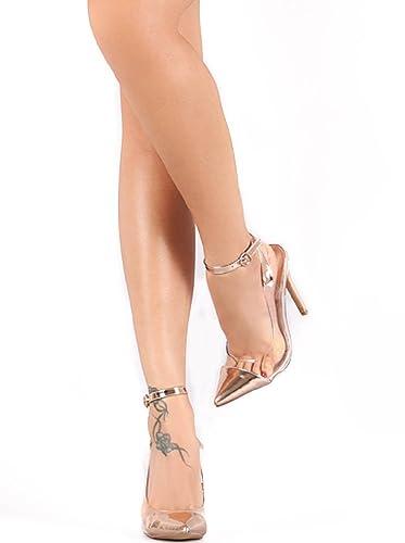 3c2f2df9c9fbc Amazon.com | Liliana Lucite Metallic Pointy Toe Ankle Strap Stiletto ...