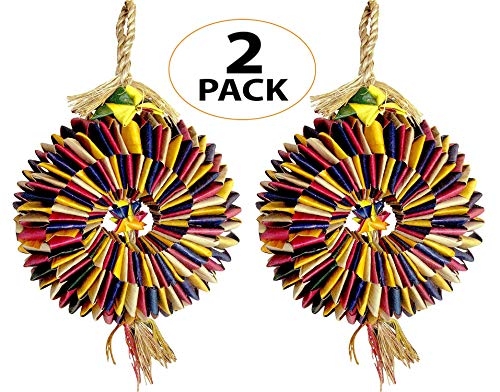 Bonka Bird Toys 03374 Pk2 Medium Bird Tire Parrot cage Conure African Grey Amazon Forage chew Shred Foot Swing Perch Aviary pet Accessories Supply