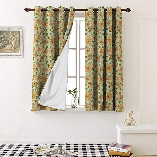 shenglv Sunflower Customized Curtains Floral Nature Pattern in Patchwork Style Rustic Country Design Curtains for Kitchen Windows W63 x L45 Inch Yellow Orange Olive Green ()