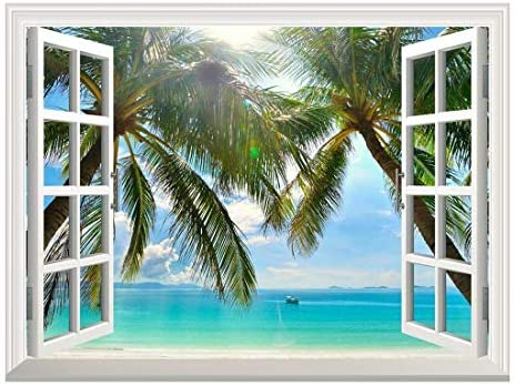 Removable Wall Sticker/Wall Mural - Beautiful Sunny Beach on a Tropical Island with Palm Trees | Creative Window View Home Decor/Wall Decor - 24