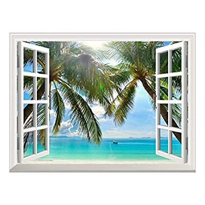 Pretty Style, Removable Wall Sticker Wall Mural Beautiful Sunny Beach on a Tropical Island with Palm Trees Creative Window View Wall Decor, Made For You