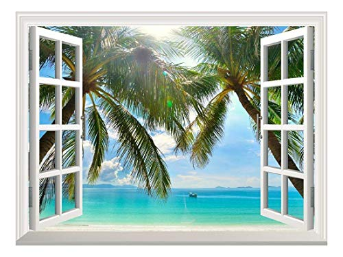 Removable Wall Sticker Wall Mural Beautiful Sunny Beach on a Tropical Island with Palm Trees Creative Window View Wall Decor