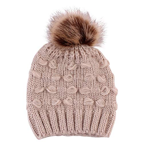 Goodtrade81 Kids Baby Toddler Cable Knit Children's Pom Winter Hat Beanie Cap for Infant Girl Boy (Free Size, Khaki) ()