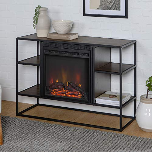 Entertainment Center Walnut - WE Furniture AZ40FPJERDW Fireplace TV Stand, 40