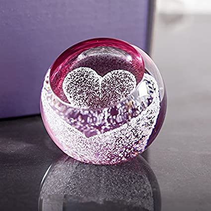 Pink Crystal Heart Shape Diamond Paperweight Beauty Figurine Home Decor 75mm