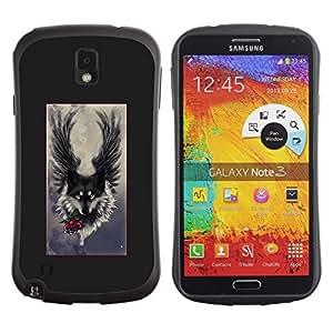 LASTONE PHONE CASE / Suave Silicona Caso Carcasa de Caucho Funda para Samsung Note 3 N9000 N9002 N9005 / Angel Grey Hound Dog Romantic