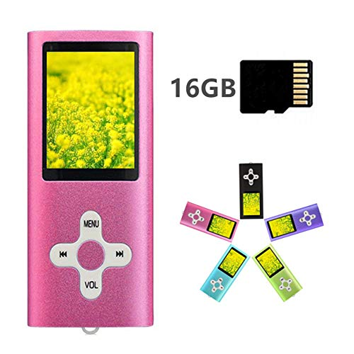 MP3 Player MP4 Player with a 16GB Micro SD Card, Runying Portable Music Player Support up to 64GB, Mini USB Port 1.8 LCD, with Photo Viewer, E-Book Reader, Voice Recorder & FM Radio Video (Pink)