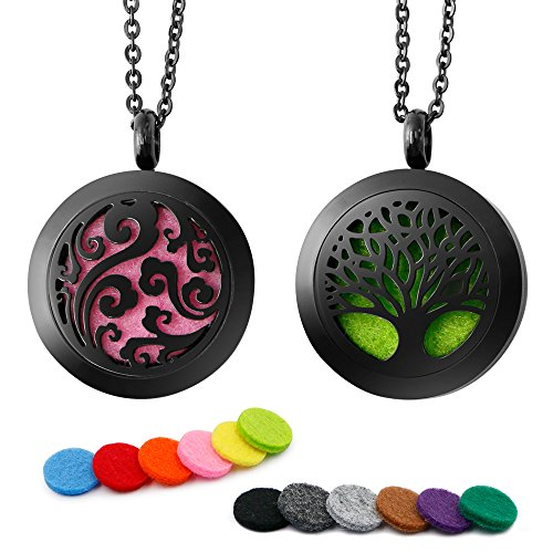 RoyAroma 2PCS Aromatherapy Essential Oil Diffuser Necklace Pendant Locket Jewelry, 24 Adjustable Chain Stainless Steel Perfume Necklace-Black