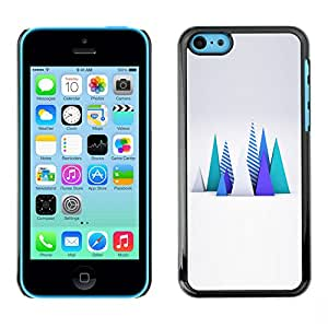 A-type Colorful Printed Hard Protective Back Case Cover Shell Skin for Apple iPhone 5C ( Polygon Art Trees Abstract Computer )