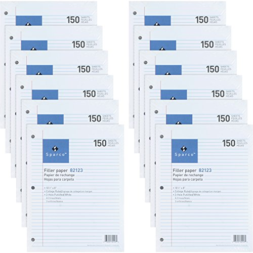 (Sparco 3HP Notebook Filler Paper 1800 Sheets - College Ruled - 16 lb Basis Weight - 8
