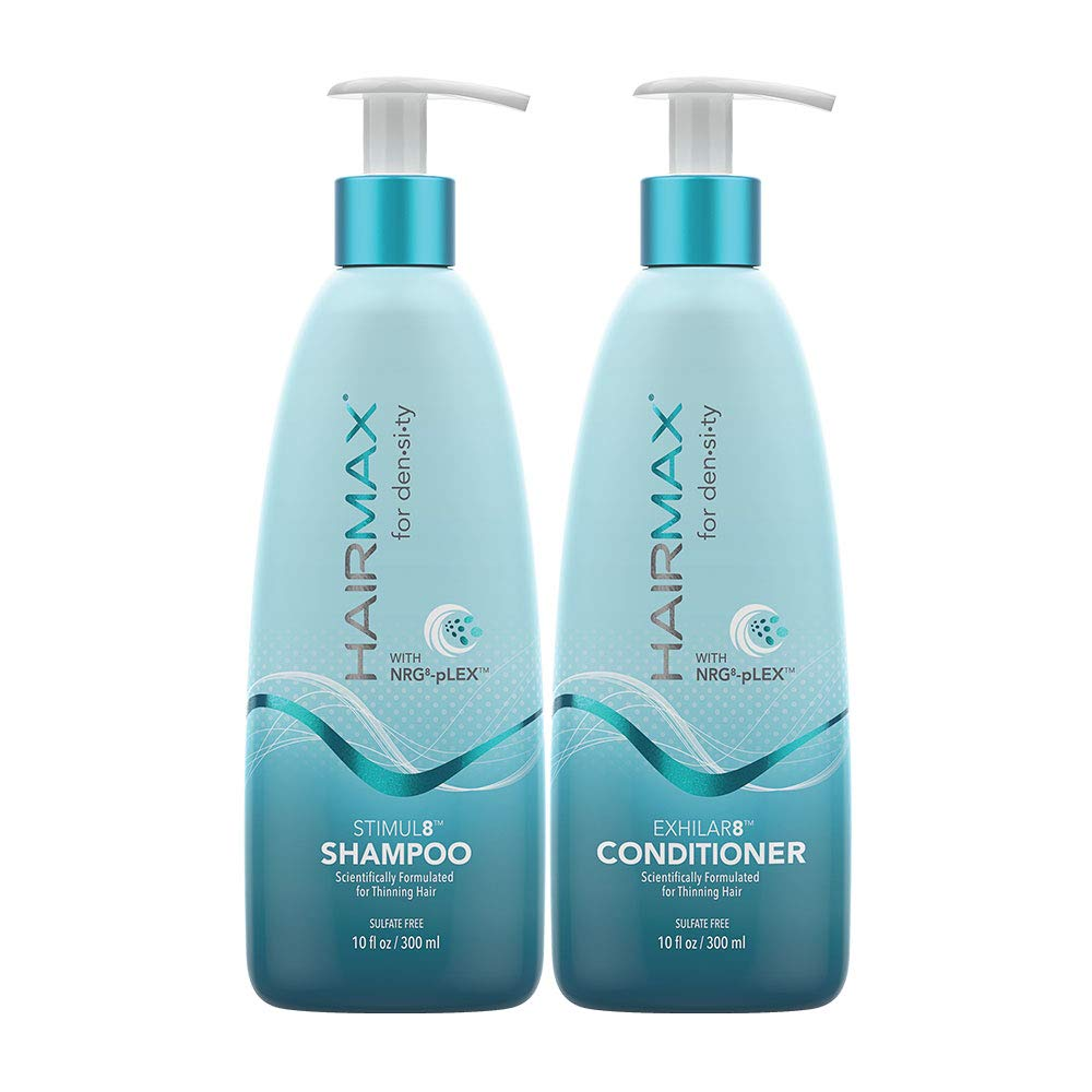 HairMax for Density Shampoo and Conditioner Set, Bio-Active Hair Therapy System for Thinning Hair, Stimul8 Shampoo, Exhilar8 Conditioner