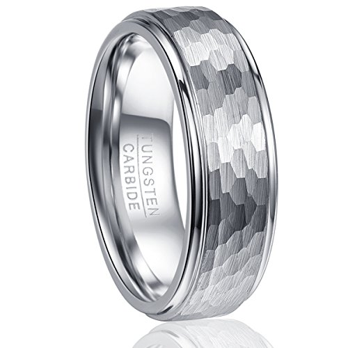 Vakki Tungsten Wedding Band Ring Men's Silver Plated Hammered Brushed Finish Step Edge Comfort Fit, 7 Brushed Silver Step