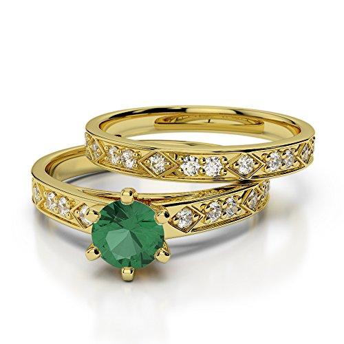 Or jaune 18carats 1/2ct G-H/VS sertie de diamants ronds découpé Émeraude et de mariage Bague de fiançailles et ensemble de Agdr-1151