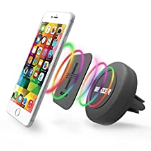 iBenzer Basic MagOn One Touch CellPhone Air Vent Magnetic Universal Car Mount Holder for All Smartphones, iPhone 6/6S/Plus Samsung Galaxy Note HTC LG Sony Nokia Motorola (Black, CA-CMHAV01BK)