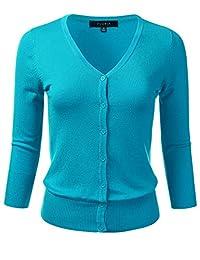 FLORIA suéter de Punto elástico con Cuello en V y Mangas 3/4 para Mujer (S-3X)